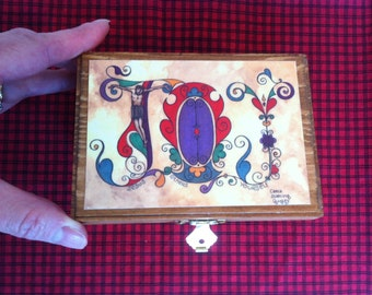 """Wooden Prayer and Blessing Box - FREE SHIPPING - with colored pencils and paper - Original art print """"JOY"""" embellishing lid"""
