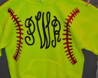 Monogrammed Softball Sweatshirt