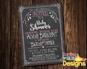Chalkboard Baby Shower, Baby Shower Invitation, Couples Baby Shower, Couples Shower, You Choose Colors (Digital File) 5x7