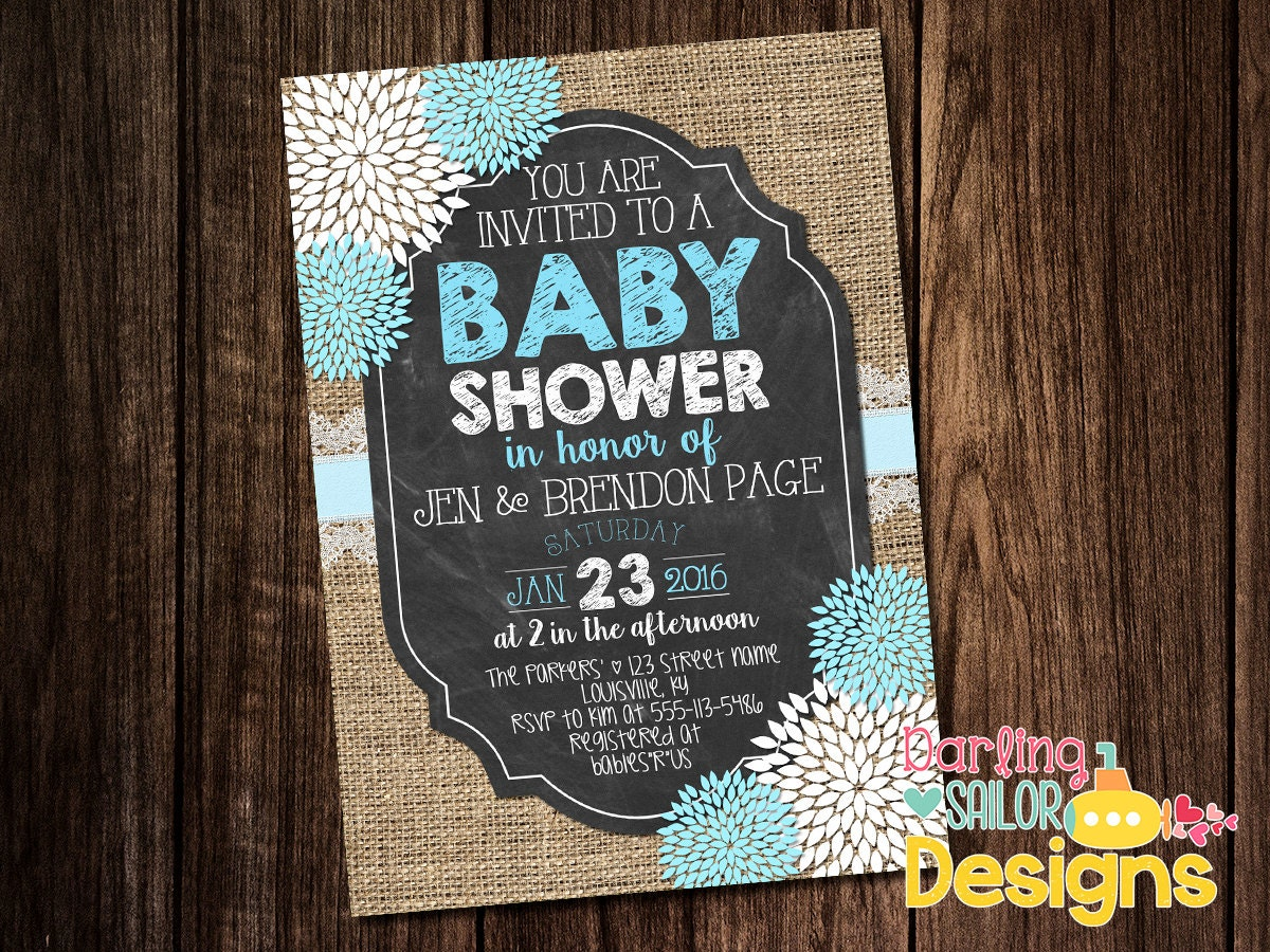 chalkboard burlap baby shower baby shower invitation couples