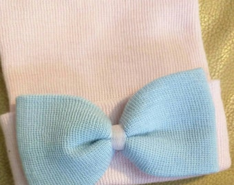 Newborn Hospital Hats with BLUE Bows! Choice of Hat Color at Checkout. Same Material Blue bow. Great gift. 1st Keepsake