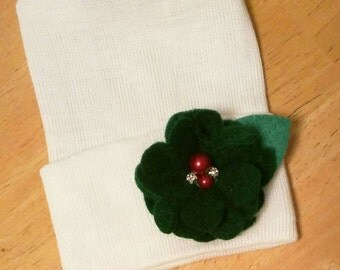 Newborn Hospital Hat! CHRISTMAS HOLIDAY hospital hat with a Green Flower with 2 Red Pearls and 2 Rhinestones! Baby's 1st Keepsake! Exclusive