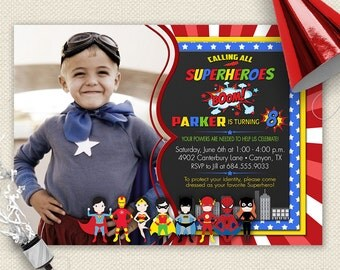 Superhero Invitation, Superheroes Invitation, Superhero Party, Superhero Birthday Party, Comic Book Invitation, Marvel Invitations