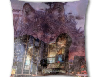 Wolf Buildings Design Cushion Cover