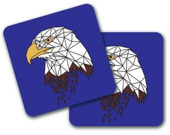Set of 4 Geometric Eagle Design Coasters (CO739)