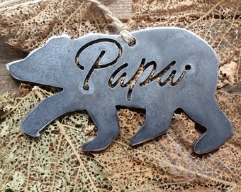 Papa Bear Rustic Christmas Ornament Metal Bear Christmas Tree Decoration Holiday Gift Industrial Decor Wedding By BE Creations