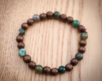Wood and Gemstone Bracelet 13