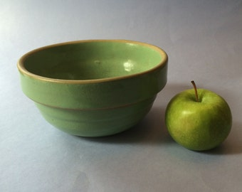 Vintage Green Yellow Ware Stoneware Bowl/Ribbed Stoneware Bowl