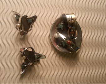 Vintage Signed Chato Castillo Set with Brooch and Earrings