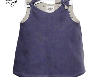 "Robe trapeze ""MARLAGUETTE"" Purple linen"