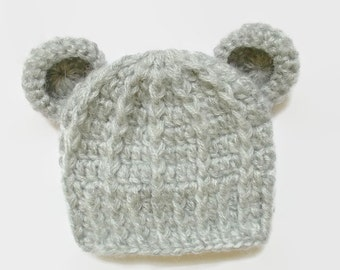 Baby bear hat Mohair baby hat Gray newborn hat Newborn bear hat Bear beanie Newborn crochet hat Baby boy hat Newborn boy outfit