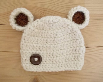 Baby bear hat Newborn bear hat Cream newborn hat Wool newborn hat Baby winter hat Baby animal hat Baby boy hat Newborn boy hat