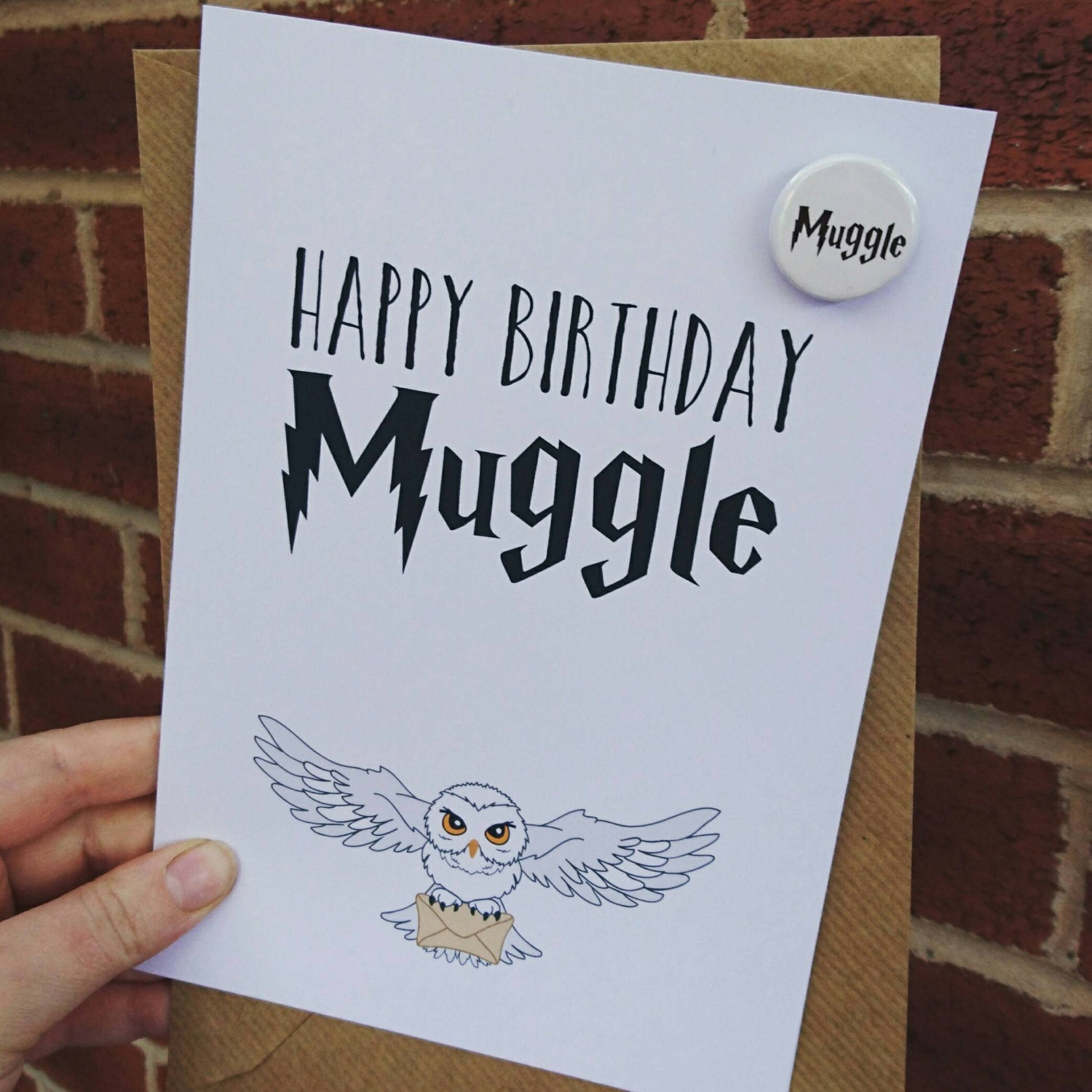 Harry Potter Fan Themed Birthday Card With Muggle Badge