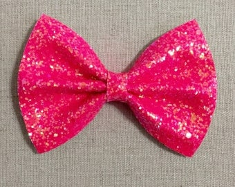 Neon Pink Glitter Bow Tie Bow, Bright Pink Glitter Bow Tie Bow, Pink Glitter Hair Bow