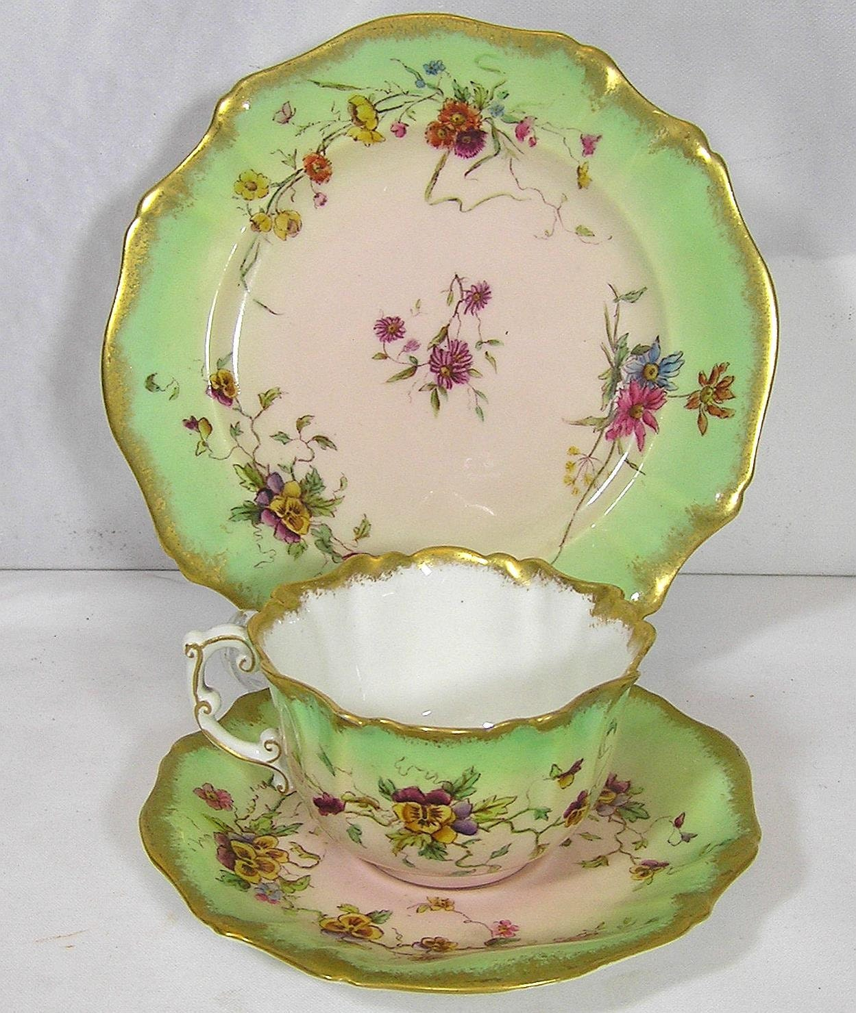 Art Deco Fine bone china Victorian 1889 Pastel Pink and Green