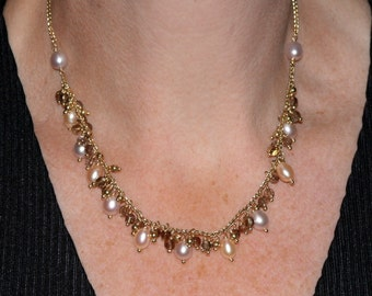 Gold Necklace 18k Yellow Gold Pink Cultured Pearls and Smoky Quartz 16.5 inch