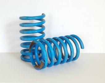 vintage industrial spring / blue metal coils / industrial coil / vintage car spring / vintage blue coil / industrial vase / large car spring