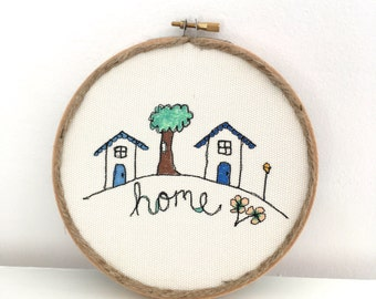 hoop art, free motion embroidery, home