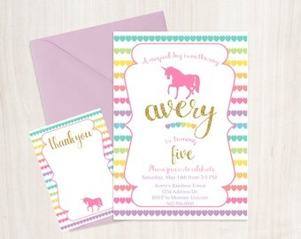 Unicorn party invitation, birthday invitation, FREE thank you card