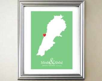Lebanon Custom Vertical Heart Map Art - Personalized names, wedding gift, engagement, anniversary date