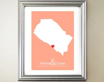Orange County Custom Vertical Heart Map Art - Personalized names, wedding gift, engagement, anniversary date
