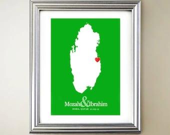 Qatar Custom Vertical Heart Map Art - Personalized names, wedding gift, engagement, anniversary date
