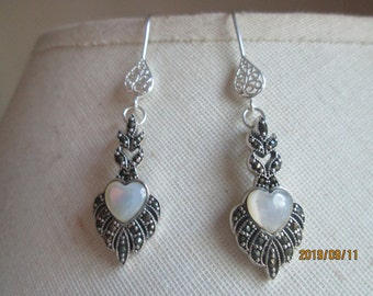 Vintage Inspired Genuine Mother of Pearl Heart and Marcasite Sterling Silver 925 Milgrain Heart Dangle Earrings, Wt. 3.9 Grams