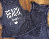 BEACH Please Burnout Muscle Tee with cut up back in Midnight, Workout Top, Muscle Tank, yoga tank