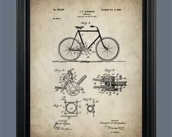Vintage Bicycle Patent Print - Bicycle Art - Bicycle Poster - Bicycle Illustration - Bike Art - Bike Poster - Bicyclist Gift - #102