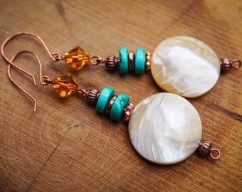Copper Earrings,Tribal Earrings, Nacar Earrings,Swarovski Earrings,Gypsy Earrings,Turquoise Jewelry,Rustic Earrings,Boho Chic,Wirewrapped