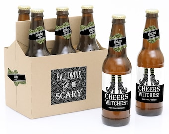 Halloween Beer Labels – Funny Halloween Gifts - 6 Beer Bottle Labels & 1 Carrier - Spooktacularly Sophisticated  Personalized Halloween Gift