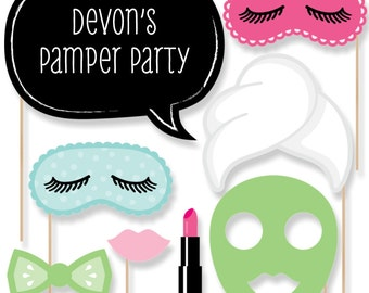 20 pc. Spa Day - Spa Party Photo Booth Prop Kit with Mustache, Hat, Bow Tie, Glasses and Custom Talk Bubble