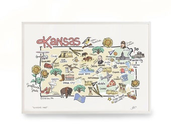 Kansas Art, Kansas Map, Kansas Print, Unframed, Print Signed by Artist, Printed on watercolor paper