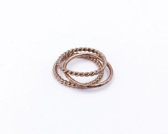 Rose Gold Stack Ring Simple Set