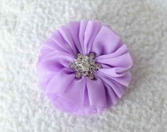 "3"" Ballerina Rhinestone Flowers, Wholesale Chiffon Rhinestone Flower Heads for Head Bands or Hairclips, Lot of 1, 2, 5 or 10, Lavender"