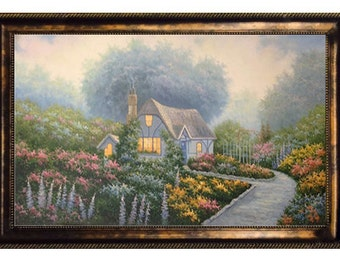 """Classic Thomas Kinkade Genre Cottage Oil Painting (24"""" X 48"""") Framed  or Stretched"""