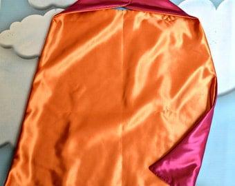 Cape. Plain Cape. Reversible Cape. Orange and Hot Pink Cape. Kids Cape.