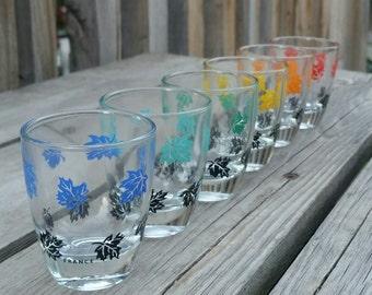Housewarming gift shot glasses France maple leaves 1980s