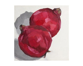 still life oil painting - pomegranate painting - original painting - fruit art - kitchen wall art