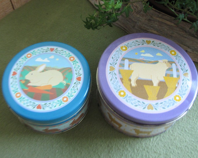 Vintage Tins Two (2) Nesting Tins Cookie Tins Candy Tins Sheep and Rabbits Kitchen Storage