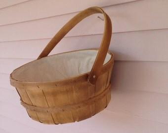 Vintage - Basket - Market - Round - Wooden - Sewing Basket - Bathroom Basket