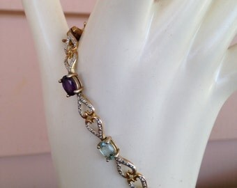 Vintage Rhinestone Tennis Bracelet, R925 Silver Eight Colored Stones