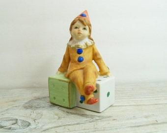 Vintage Capodimonte Girl Circus Clown on Dice Ceramic Bisque Capo Di Monte Clown Figurine Crown Over N 1950s