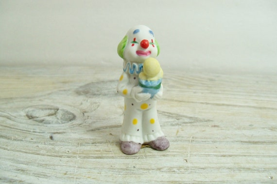 Vintage Napcoware Circus Clown Miniature Ceramic  Clown Bisque Clown Figurine Ice Cream Cone 1950s Napco Taiwan #735