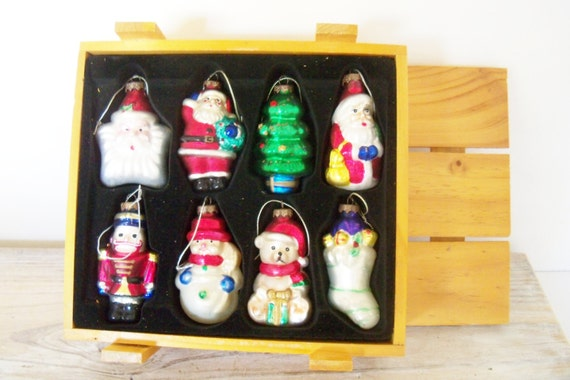 Vintage Glass Christmas Ornaments Set of 8 in Wooden Crate Polonaise or Pacconi-Type Hand Painted Ornaments Santa Snowman 1960s