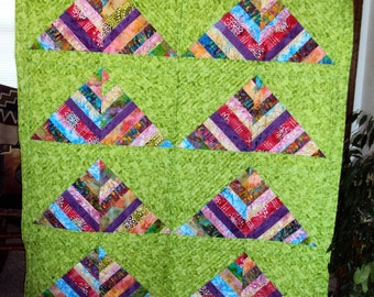 """66""""x59"""" Handmade Quilt- Colorful Mountains"""