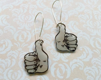 Hand Drawn Thumbs Up, Shrink Plastic Earrings with Fish or Kidney Hook - Ready to Ship
