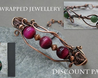 Bracelet tutorial ~ Wire wrapped jewelry ~ Wire wrap instructions ~ PDF ~ Discount ~ Jewelry tutorial ~ Pendant discount pack ~ Wire jewelry