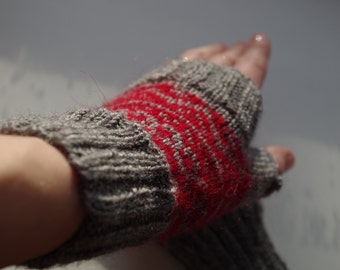 Grey and red arm warmers