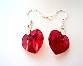 Swarovski Red Earrings Sterling Silver 925 Jewelry Handmade Swarovski Earrings  Swarovski Earrings Crystal